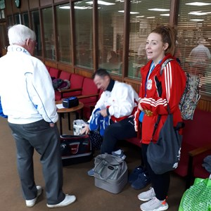Getting ready to Bowl at Desborough with Duggie Mitchell, a Director of Disability Bowls England and Rachel who wanted to learn more about Bowls, so just came along and was duly amazed