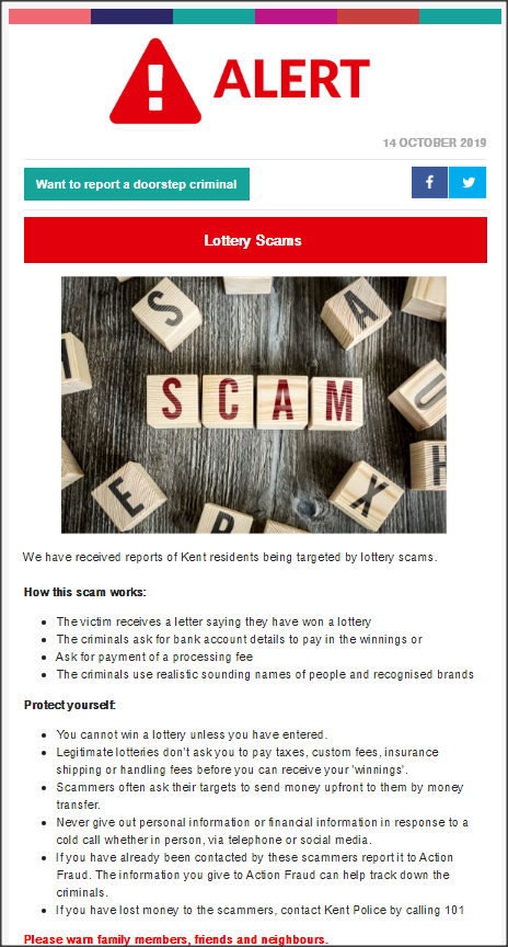 Minster Parish Council Lottery Scams