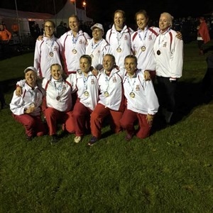 Bedford Ladies representing England in European Championships 2019 Ladies 520kg bronze medal winners