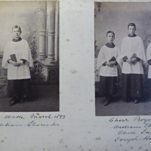 Left - Harry Watts March 1893. Right - Choir boys, William Thrower, Oliver Snelling, Joseph Haynes.