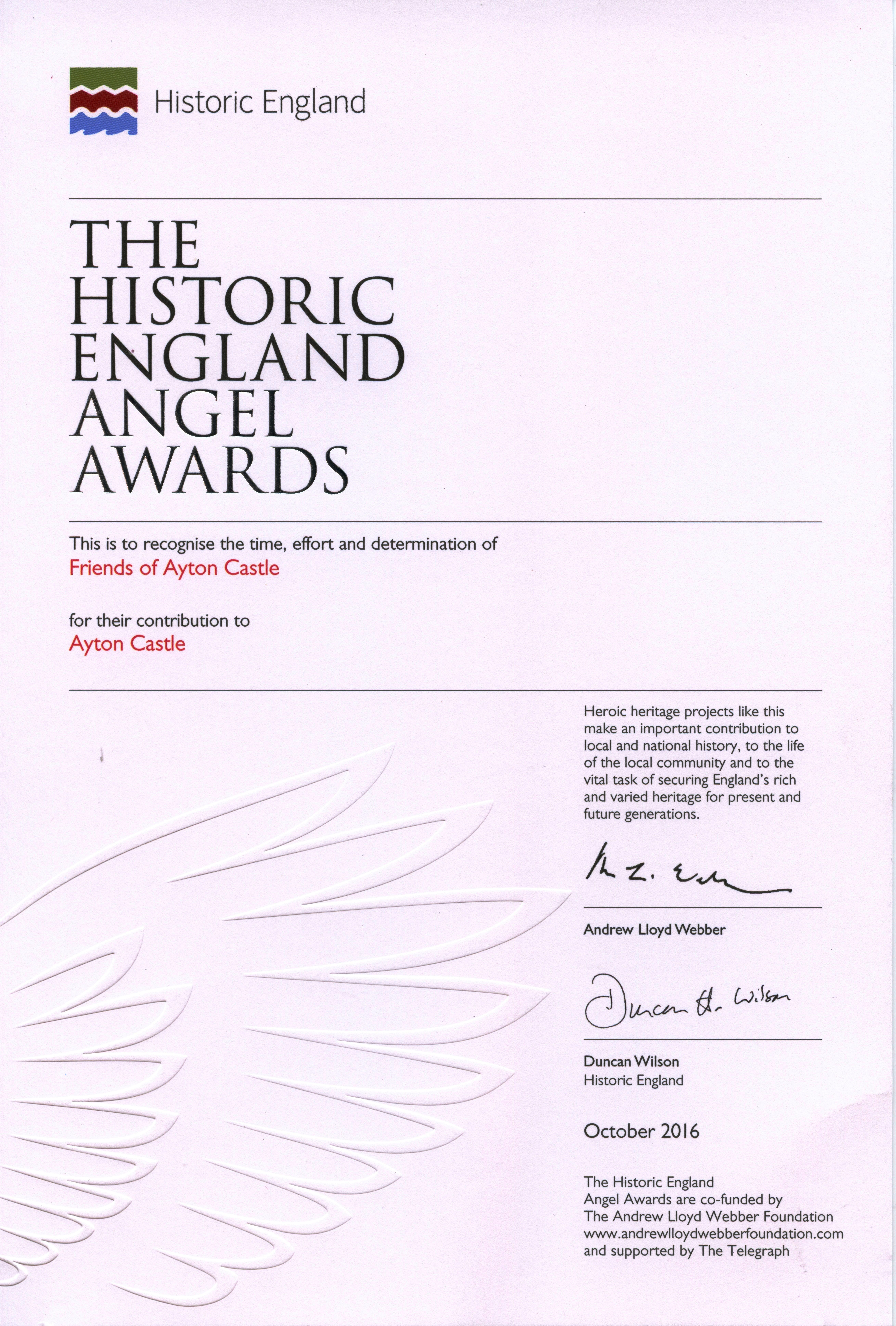 Angel Award from Historic England