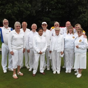 Atherley BC, Southampton - Hampshire Mixed Top Club Runners-up 2014 - Left to Right; Roy Bray, Lyn Elder, Terry Chivers, Vic Druce, Pam Harrison, Alan Wilson, Gerry Potts, Jo Shaw, Chris Dowding, Jackie Stride, Ann Ashcroft, Trish Leach