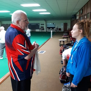 Brian, a member of Disability Bowls England explaining how bowls can be played by EVERYONE