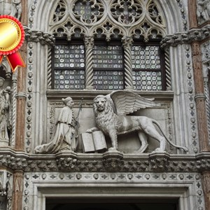 Winged lion over cathedral door