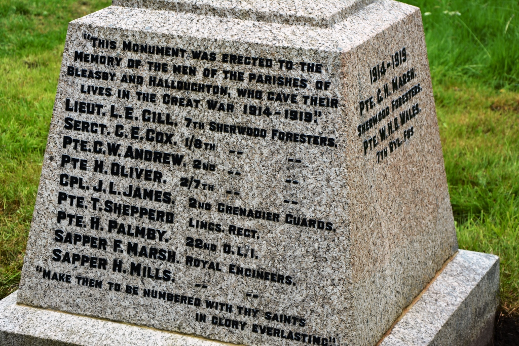 Bleasby War Memorial - Detail