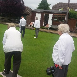Friendly v Empingham Sat 18th June 2016 Mary Slater waiting to bowl