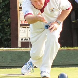 Barry Lambourne in action during the 2 Wood Singles Final
