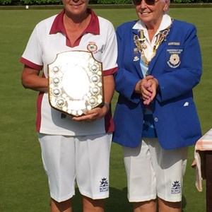 Captain Sue Allen receives Janet Harrow Winners Shield for Swinton BC