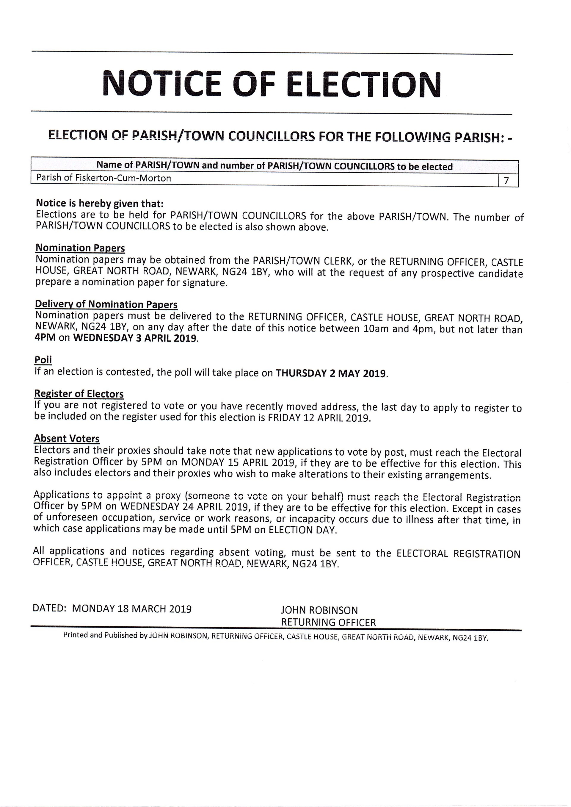 PARISH COUNCIL ELECTION NOTICE MAY 2019