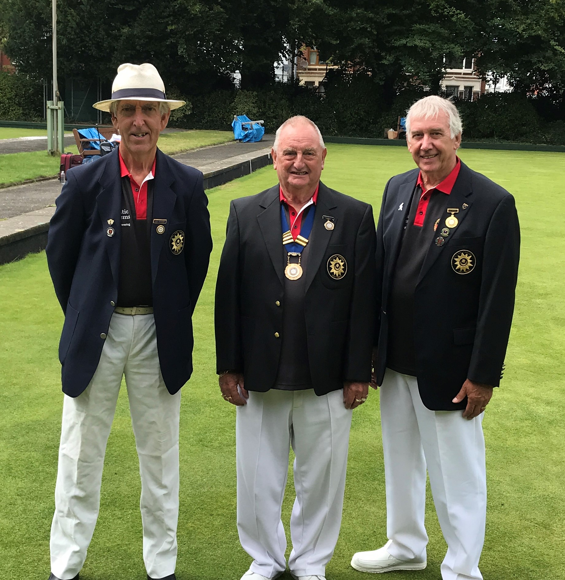 Over 60s finalists Dave Meyer and Rob Rowe with President on Finals Day 2020