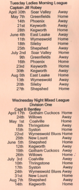 Brush Bowls Club Tuesday / Wednesday Fixtures