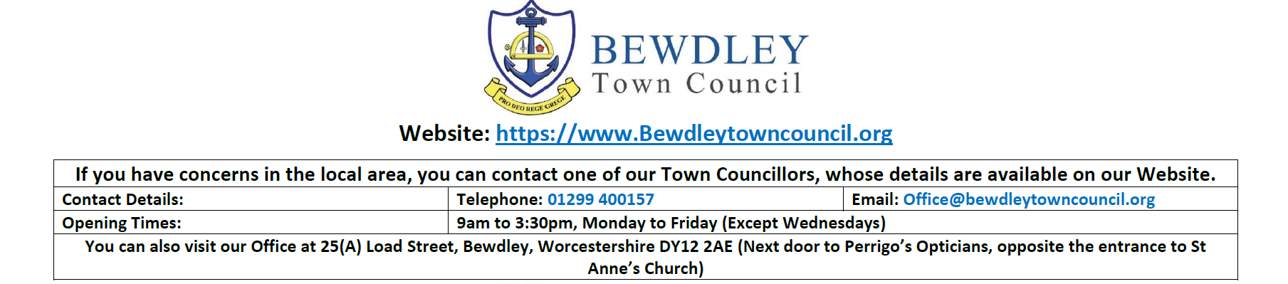 Report Issues - Bewdley Town Council Bewdley, Worcestershire
