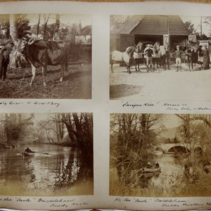 "Rectory cow and cowboy / Juniper Hill Horses (o/c) Percy, John & Halter? / On the ""Mole""  Mickleham, Freddy Harke / On the ""Mole""  Mickleham, Freddy & Geraldine Harke"