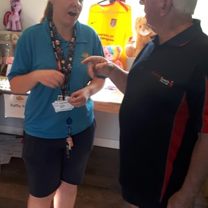Rachel Sport 4 Fitness and Duggie DBE discuss Disability Bowls at the refurbished Sport for All buiding at Fernire Fields. THANK YOU TO NORTHAMPTON BOROUGH COUNCIL FOR THE GRANT TO MAKE THIS POSSIBLE