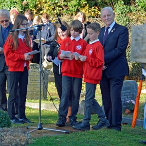 Pupils of Oakley CE Junior School reading their Remembrance poems