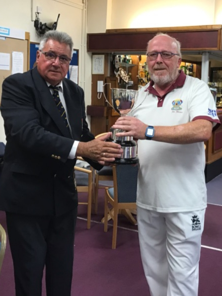 Jim Bland receiving the 2019 Men's Oxfordshire Champion of Champions Trophy