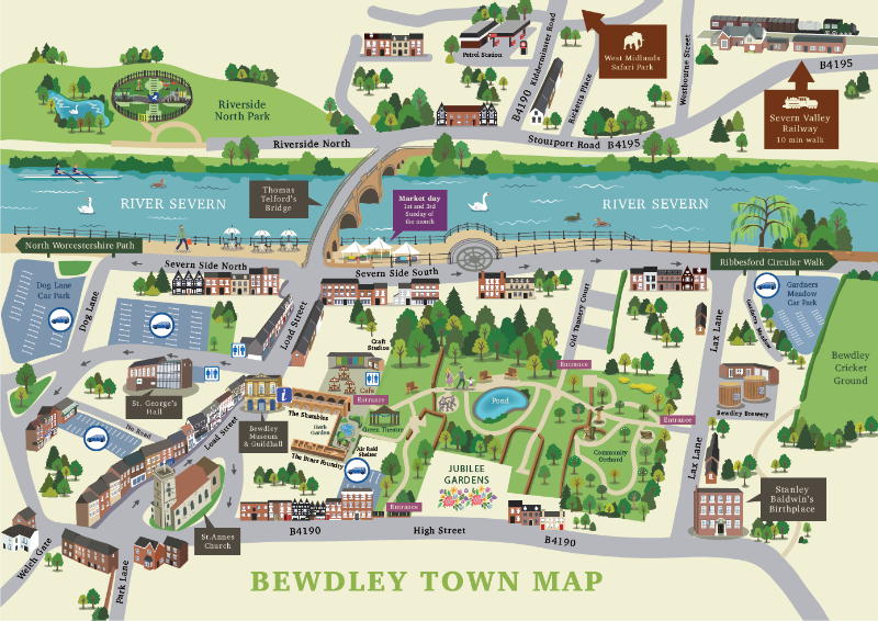 Town Maps - Bewdley Town Council Bewdley, Worcestershire - Bewdley Map on