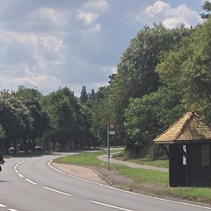 Bus shelter on the A24 opposite Byttom Hill, erected by Mrs. Margerison of Byttom Hill Cottage in memory of her daughter, Dr. F.M.Margerison, who was killed by enemy action in 1941.  The new roof was installed by Mole Valley DC in 2015.