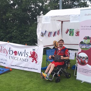 Ready for action at the Disability Bowls England Tent