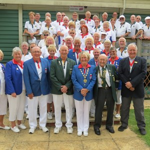 Chandos Park BC players with the Bowls England team.  Centre front of picture is Andy Hunt, Club Chairman, Viv Tomlinson, President Bowls England, Chris Lawrence Club President and Deputy Mayor Mark Cole JP