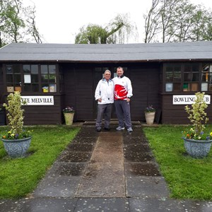 "Neville Bodily, Captain and long serving member of Northampton Whyte Melville welcoming David to the outdoor Green and ""changing hut"""