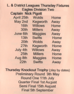 Brush Bowls Club Thursday Fixtures