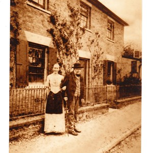 Thomas Tidy and housekeeper at a house by the forge London Rd Mickleham. August 1894