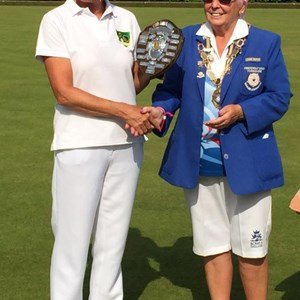 Captain Sue Farnsworth receives Janet Harrow Runners Up Shield for Poppleton BC