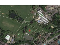 satelite view of Hrsham Park with parking showm