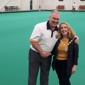 Daventry Mayor (Lynne Taylor) is on the winning team with John Moore (Director Daventry Town Bowling Club)