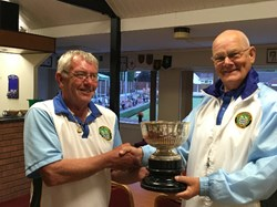 Vice President John Killworth presents President Alan Guest with the Presidents Cup