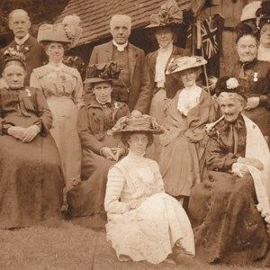 Almshouse Coronation Tea. Mickleham circa 1911