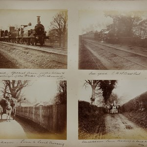 Full speed. Special train….1885 / Full speed. L,B & S. Coast Rail / Mickleham. Lane to level crossing / Mickleham. Lane to level crossing May 1885
