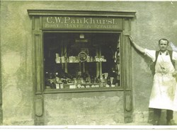 Charles Pankhurst was in the RAF during WW1 Seen here outside his shop 'Pankhurst Cottage' c 1930