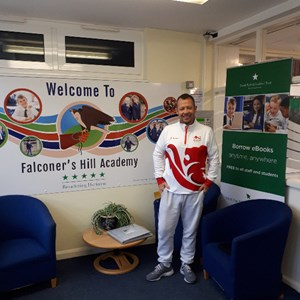 Day getting ready to present to the children at Falconers Hill Academy