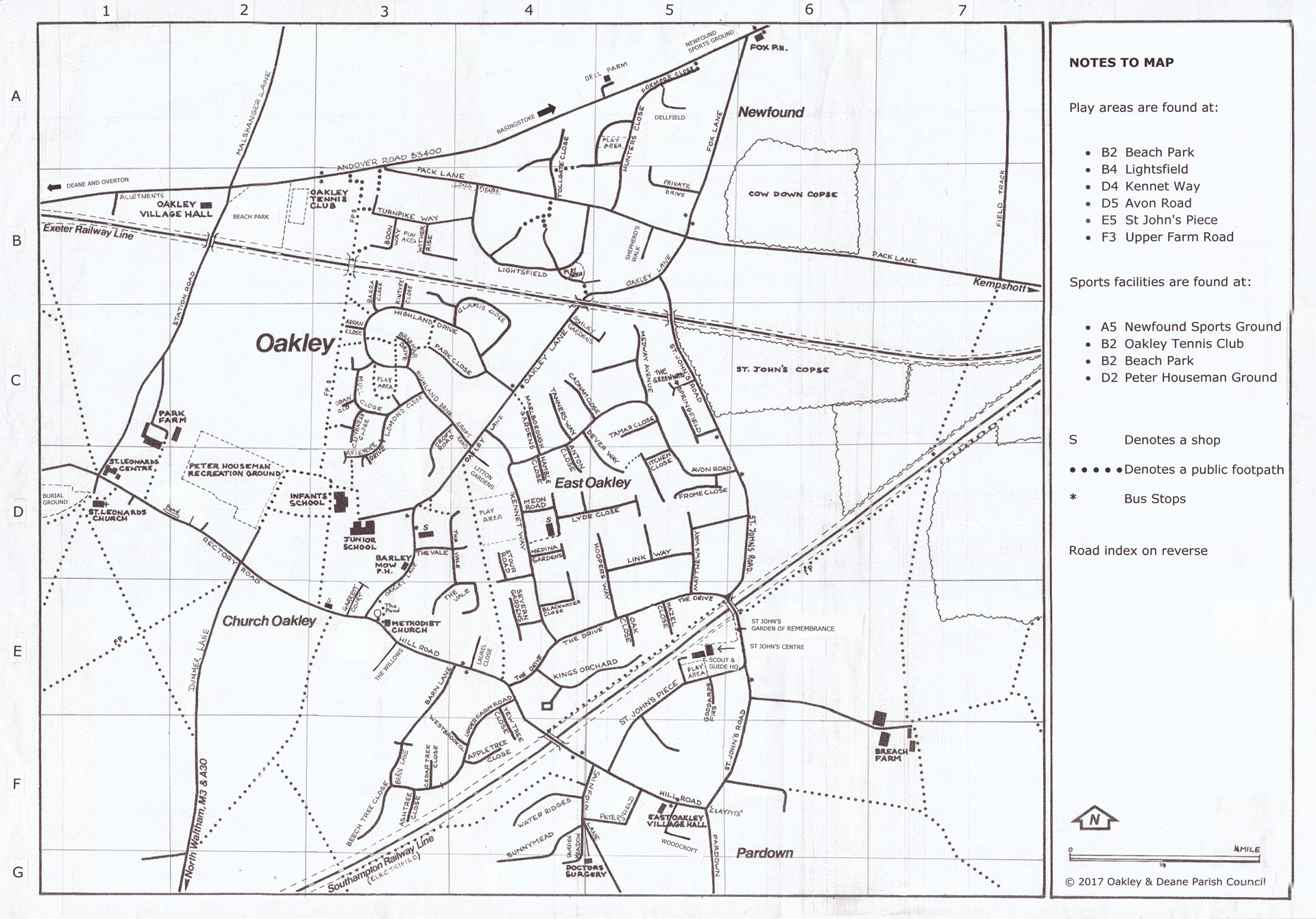 Street plan of the village of Oakley