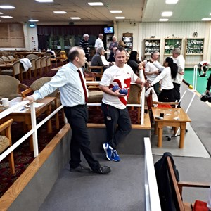 Local Daventry MP Chris Heaton-Harris getting the low down on Bowls and some Bowling tips from CWG18 medalist David Bolt at Daventry Indoor Bowls Club on Friday 27 April 2018
