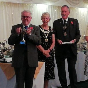 Captain David James Is Pictured with Bowls England President Hazel Marke SBA Mens President David Bishop & SBA Ladies President Ailsa Midwinter after Receiving Tropy for Winning The Div 2 East Title