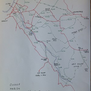 Cusop Parish footpaths in red