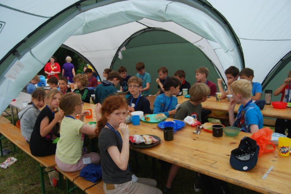 Scouts, Cubs and Beavers at Cubs 100 Birthday Celebration Camp in 2016