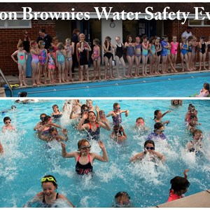 Overton Brownies working for their Water Safety Badge