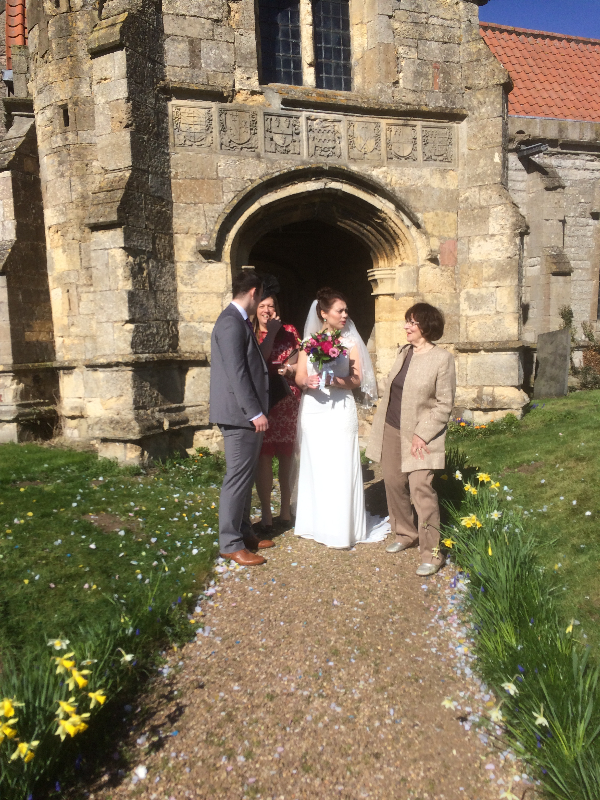 Churchwarden Doreen Hallam with 2017 Bride & Groom