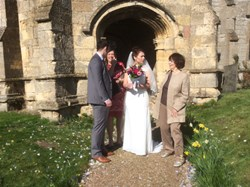 Wedding at Holme, Doreen Hallam churchwarden looking on