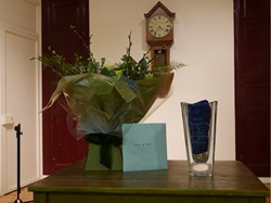Gifts - Bouquet of Flowers, engraved vase and card with a cheque enclosed