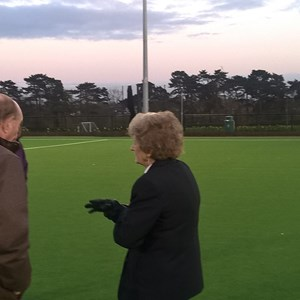 "Chris Heaton-Harris and Councillor Alan Hills talking Bowls with Alison an international Umpire when they came, FROZE (it was cold) and successfully tried play bowls on an ""Artificial Hockey Pitch"""
