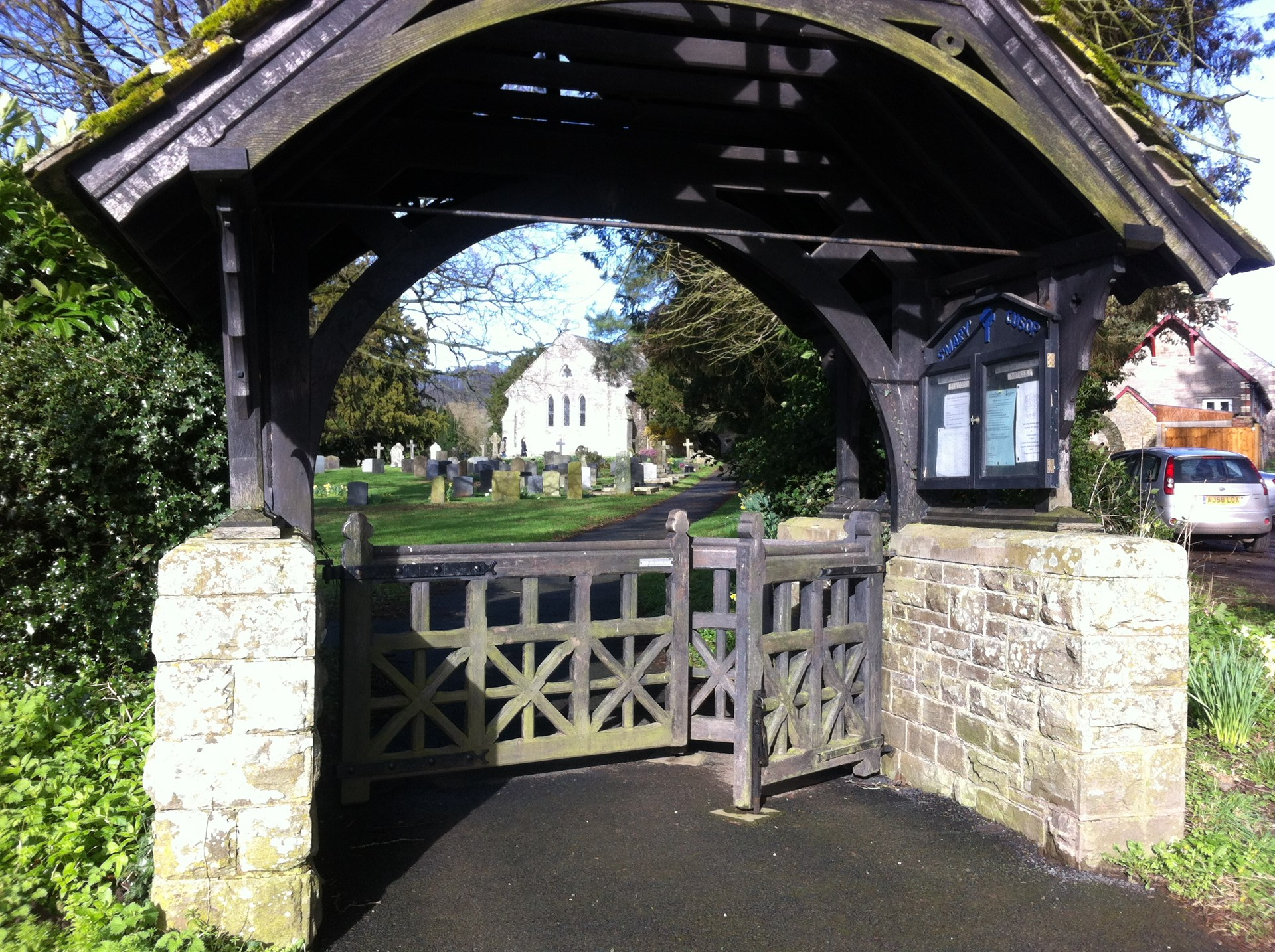 Lychgate and Distant View of Cusop Church
