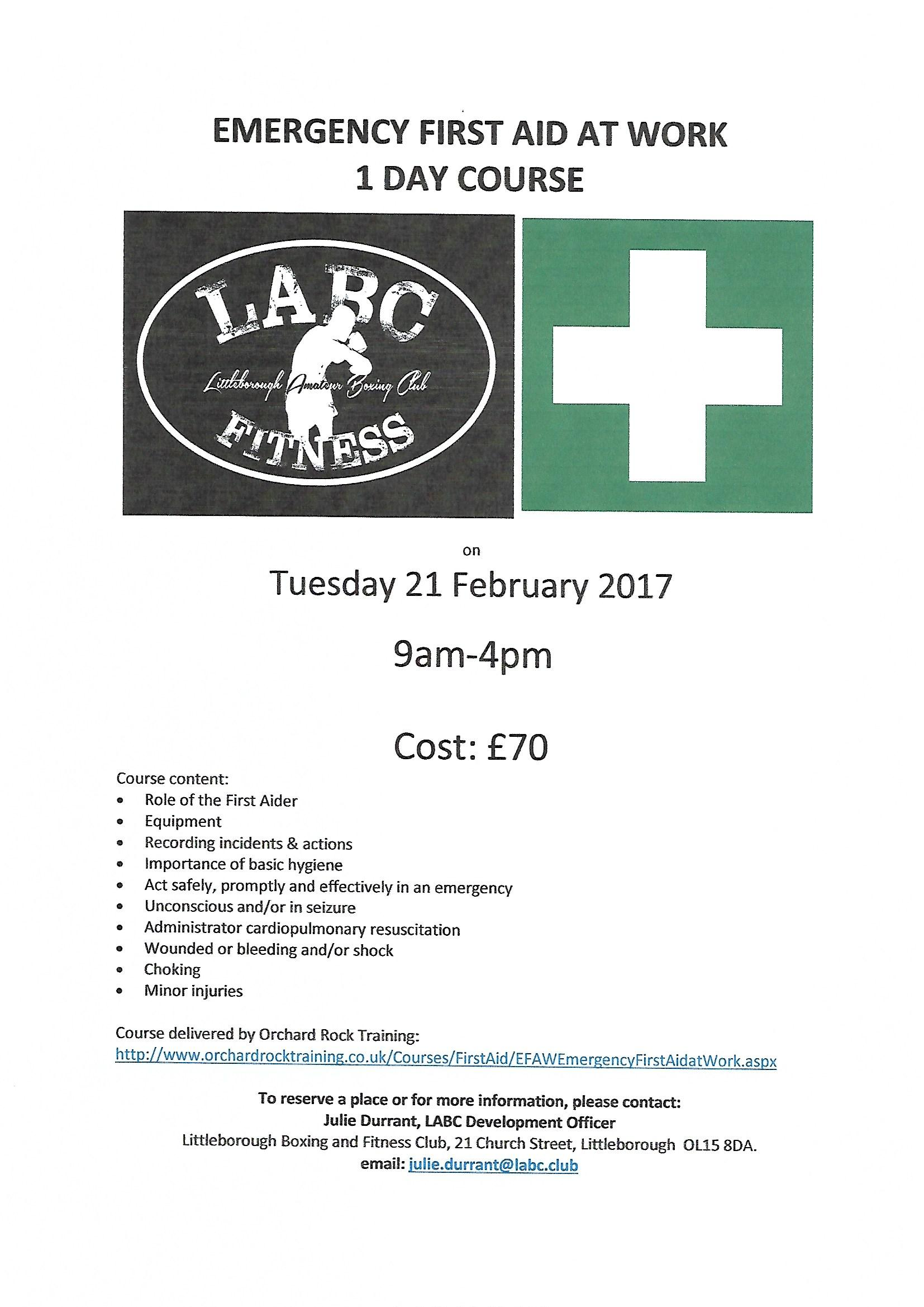 Littleborough Boxing & Fitness Club Emergency First Aid
