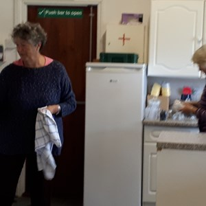 Jeannette & Margaret - sorting the kitchen