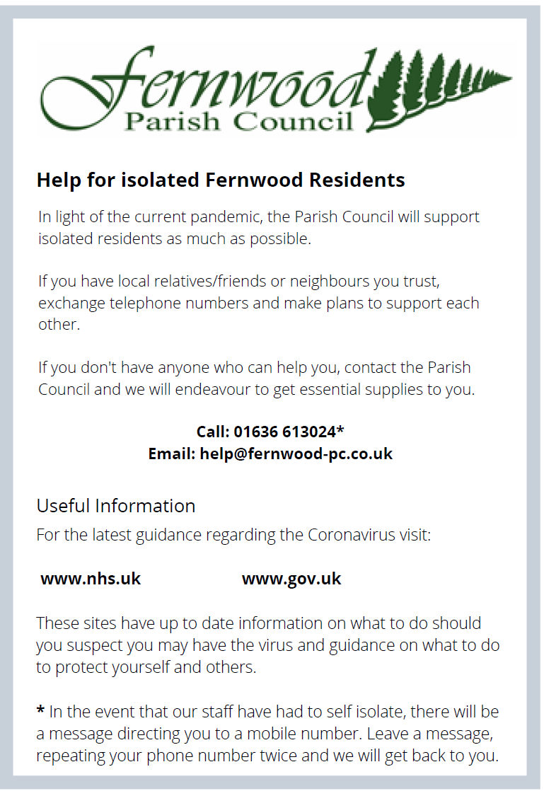 Fernwood Parish Council Covid 19 Documentation
