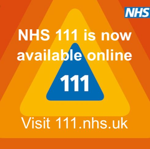 If you have a non-urgent medical condition or need advice on how you or a family member is feeling, click on the image to access online advise from NHS staff or dial 111 to speak to an adviser.